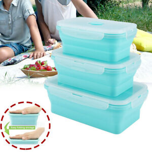 Silicone Folding Food Lunch Boxes Portable Bowl Bento Picnic Collapsible Storage