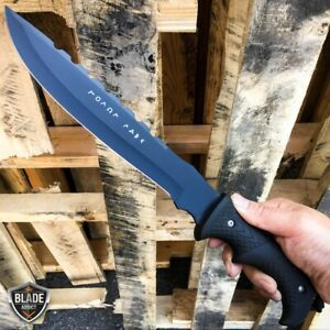16quot; HUNTING SURVIVAL Military MACHETE Camping Fixed Blade Knife BLACK BOWIE NEW