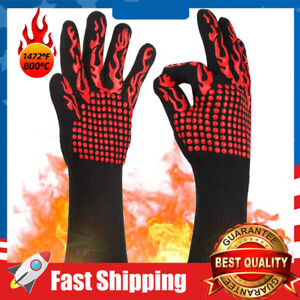 1472°F Silicone Extreme Heat&Cut Resistant Cooking Oven Mitt BBQ Grilling Gloves