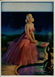 1952 Art Frahm Pin Up Glamour Girl Moonlight And Roses Vintage Lithograph Poster $26.95