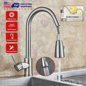 Kitchen Sink Faucet Pull Down Sprayer Brushed Nickel Single Hole Mixer Tap