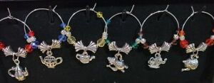 Set of 6 New Tea Time Wine Glass Charms Pendant Drink Markers