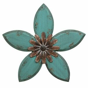 Teal on Red Antique Flower Wall Hanging