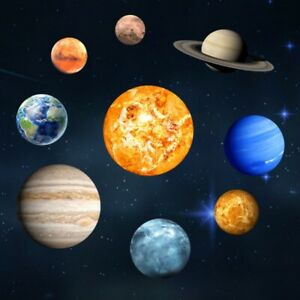 Solar System 9 Planets Luminous Wall Stickers Fluorescent Kids Bedroom Decals