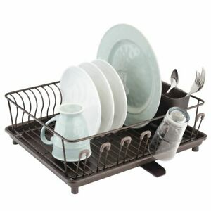 mDesign Large Kitchen Dish Drying Rack with Swivel Spout 3 Pieces Bronze