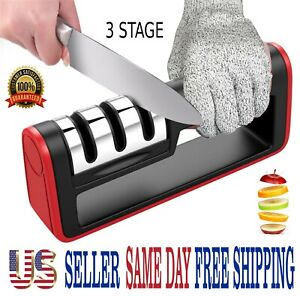 KNIFE SHARPENER PROFESSIONAL CHEF SYSTEM Ceramic Tungsten Diamond 3 Stage Tool