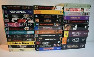 Lot of 33 Action Drama War Thriller Classic Movies VHS4 Double Sets $39.99