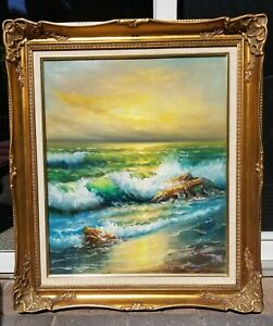 Vintage Oil Painting Ocean Seascape Signed Sheridan 31quot; by 27quot; $280.00