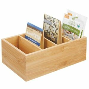 mDesign Bamboo Wood Food Storage Organizer Bin - 4 Sections, 4 Pack - Natural