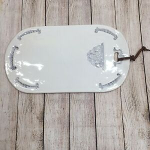 Anthropologie Stoneware Serving Tray Nocturne Charcuterie Cheese Board Shabby
