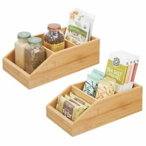 mDesign Bamboo Wood Kitchen Pantry Food Storage Divided Bin - 2 Pack - Natural