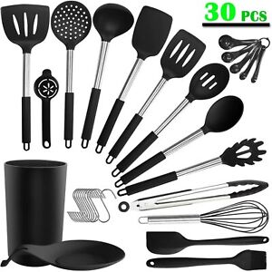 30PCS Silicone Cooking Kitchen Utensils Set Stainless Steel Cooking Utensils