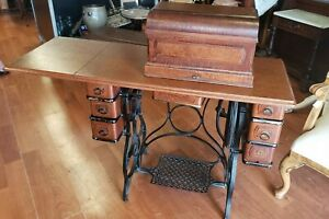 Antique Sewing Machine Standard Foot Treadle Oak 7 Drawer Extras 1894 We Ship $266.09