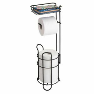 mDesign Metal Toilet Paper Holder Stand Dispenser with Shelf 3 Rolls Black