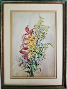 Antique Signed Watercolor Painting Still Life Flowers Cross Framed Dated 1879 $93.75