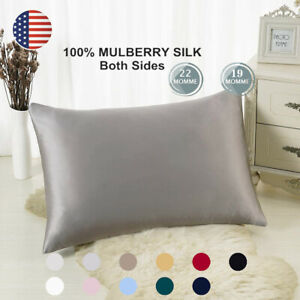 100% Pure Mulberry Silk Pillowcase Bed 19 Momme for Hair and Skin Hidden Zipper