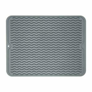 Silicone Dish Drying Mat Easy Clean Dishwasher Safe Heat Resistant 15.8x12 Gray