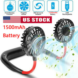 Portable USB Rechargeable Lazy Fan Hanging Neck Mini Cooling Sports Rest Fan US