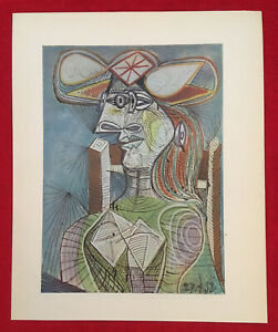 PABLO PICASSO Figure 1938 Rare Vintage Offset Lithograph 1946  Plate-signed. $39.00