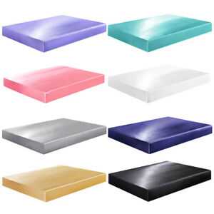Satin Silk Fitted Bed Sheet with Deep Pocket Twin Full Queen King Soft & Smooth