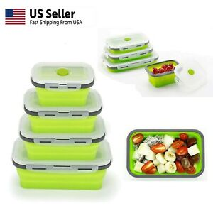 Food Storage Containers(4 pack), Collapsible Reusable Silicone Lunch Bento Box