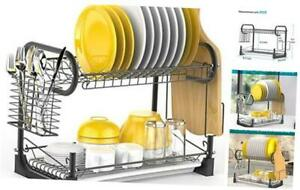 Dish Drying Rack, iSPECLE 2 Tier Dish Rack with Utensil Holder, Cutting Board Ho