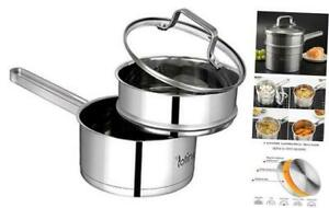 Potinv 2-Quart Stainless Steel Steamer Cooker, Saucepan with Cover, Induction Co
