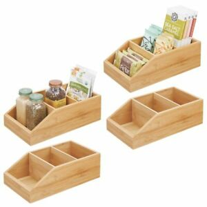 mDesign Bamboo Wood Kitchen Pantry Food Storage Divided Bin - 4 Pack - Natural