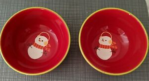 2 Target Be Merry Holiday 08 Ceramic Snowman Bowl