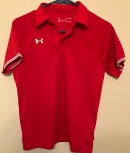 NWT!! Boys Youth Large YLG Under Armour Golf Polo Shirt Heat Gear RED $19.00