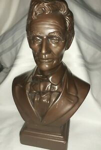 Vintage Ceramic Abe Lincoln Bust 13quot; Bronze Colored Statue $24.99