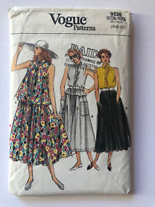 1980#x27;s Vogue Vintage Pattern 9520 Flared Sleeveless Top amp; Skirt Size 6 8 10 $9.95