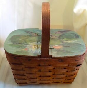 PRIMITIVE Antique BASKET With Hand Painted Bi Fold Lid Small Picnic $39.99