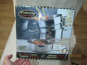 CULINARY ESSENTIALS new 4 piece PASTA COOKER 8 qt stainless steel heavy