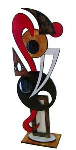 Contemporary Modern Abstract Red Floor Sculpture Wood Metal home decor by Alisa $399.99