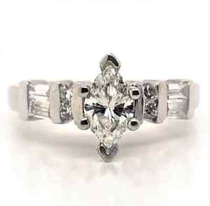Diamond Designs Platinum Diamond Engagement Ring With Marquise Center Size 5.75
