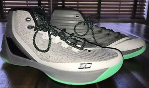 Under Armour UA Steven Curry 3 Mens Size 13 Gray Neon Green Basketball Shoes $24.99