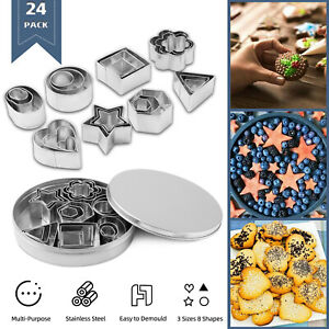 24x Biscuit Cutters Cookie Cutter Set Stainless Steel Baking Pastry Slicers Mold $10.59