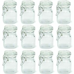 Square Apothecary Glass Jar With Locking Lid Clamp Closure 24 Kitchen amp;amp