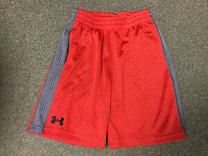 UNDER ARMOUR BOYS MESH SHORTS RED YOUTH EXTRA SMALL POCKETS LOOSE HEAT GEAR $2.99