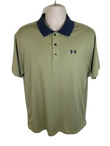 Under Armour Mens Large L Loose Heat Gear Yellow Green Striped Golf Polo Shirt $16.98