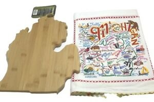 State of Michigan Bamboo Cutting Serving Board & Michigan Kitchen Towel