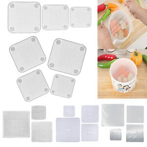 Transparent Silicone Wraps Seal Cover Cling Film For Keep Food Fresh Microwave