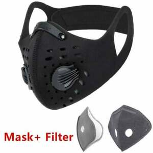 Outdoor Cycling running Sport Mask with carbon Filter with valves $10.88