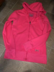Womens Under Armour Storm Semi Fitted Neon Pink Full Zip Hoodie Sweater Sz Sm $28.00