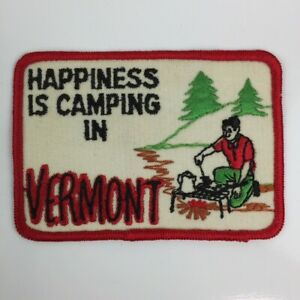 Happiness is Camping in Vermont Embroidered Souvenir Patch