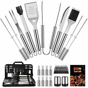 BBQ Grill Accessories Set Stainless Steel with Spatula, Tongs, Skewers 22PCS