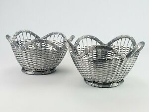 Woven Silver Metal Wire Serving Baskets 2 pc Set, Vintage High Quality 10