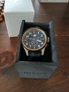 Nixon Men's Safari Dual Time Rose Gold Black Stainless Steel Swiss 46mm Watch
