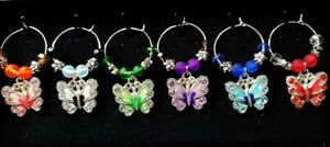 Set of 6 Butterfly Wine Glass Charms Pendant Drink Markers